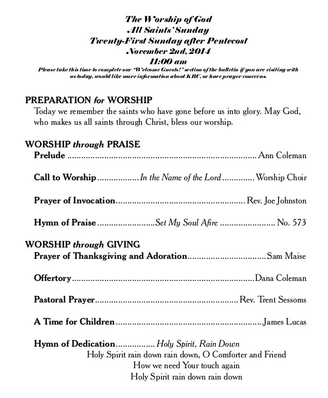 The Worship Of God At Knightdale Baptist Church Nov 2nd