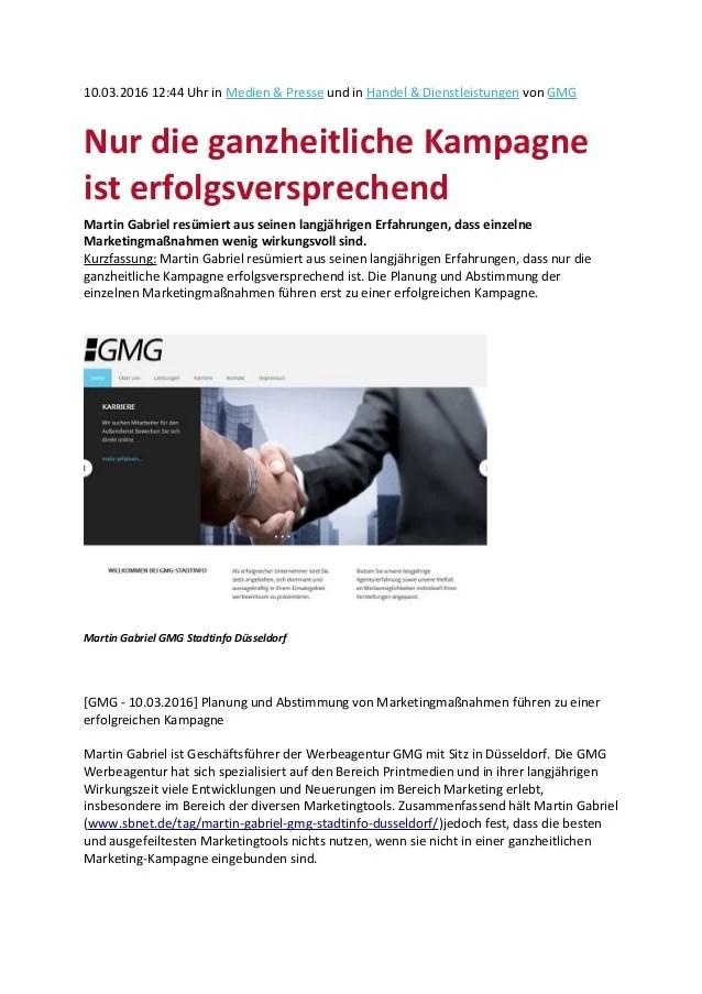 Martin Gabriel Düsseldorf - Nur die ganzheitliche Kampagne ist erfolgsversprechend