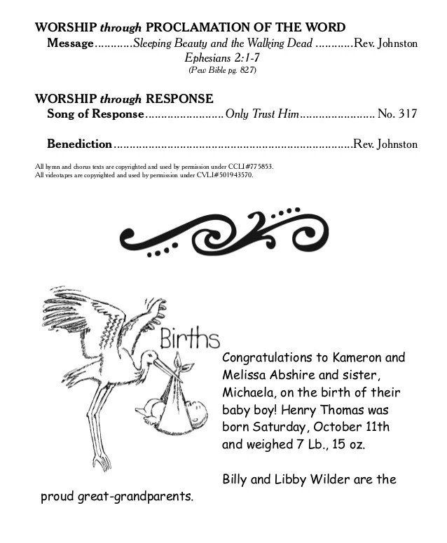 The Worship Of God AtKnightdale Baptist Church Oct 19 Bulletin