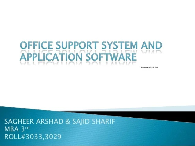 Office support system and application software