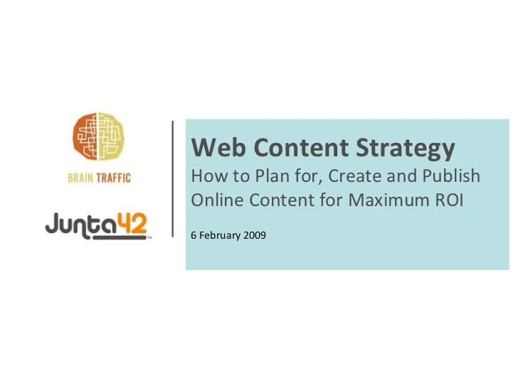 Web Content Strategy - How to Plan for, Create and Publish ...