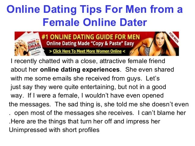 Online dating tips for men from a female
