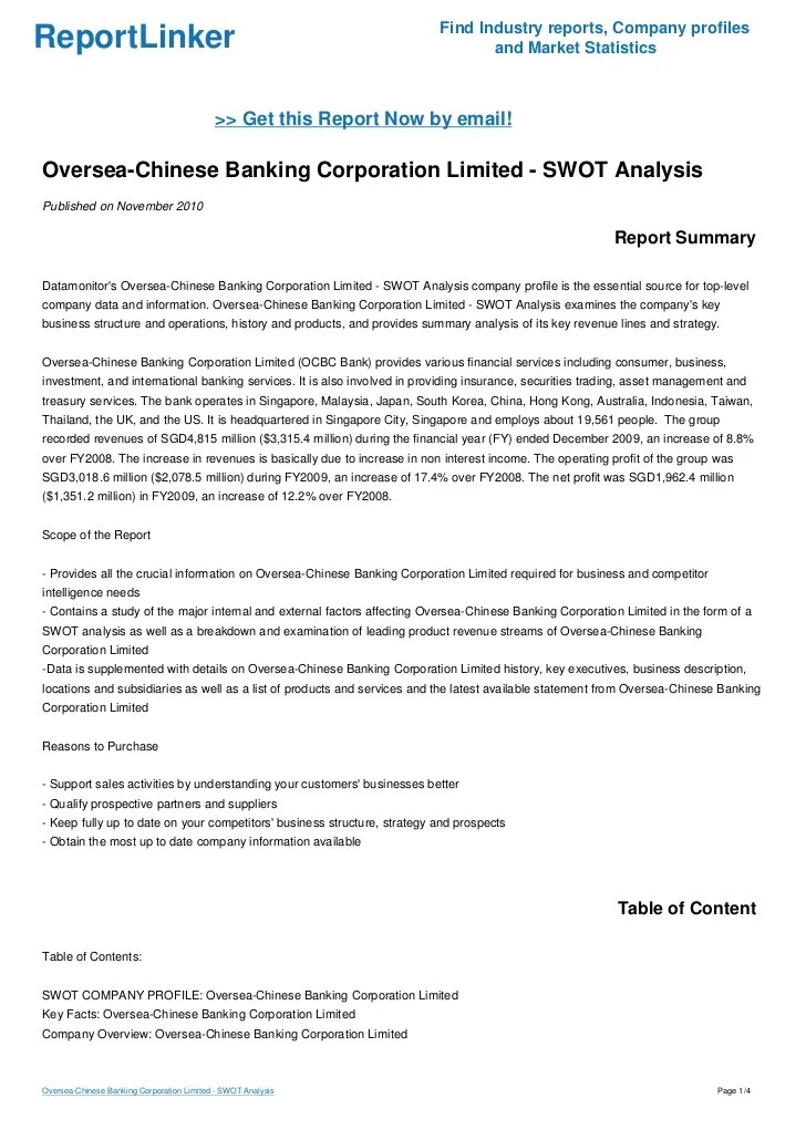 Oversea-Chinese Banking Corporation Limited - SWOT Analysis