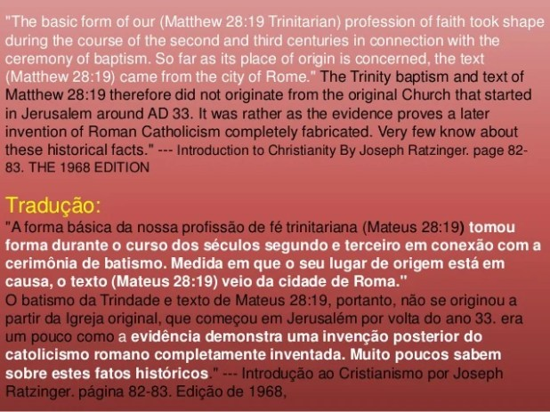 """""""The basic form of our (Matthew 28:19 Trinitarian) profession of faith took shape during the course of the second and thir..."""