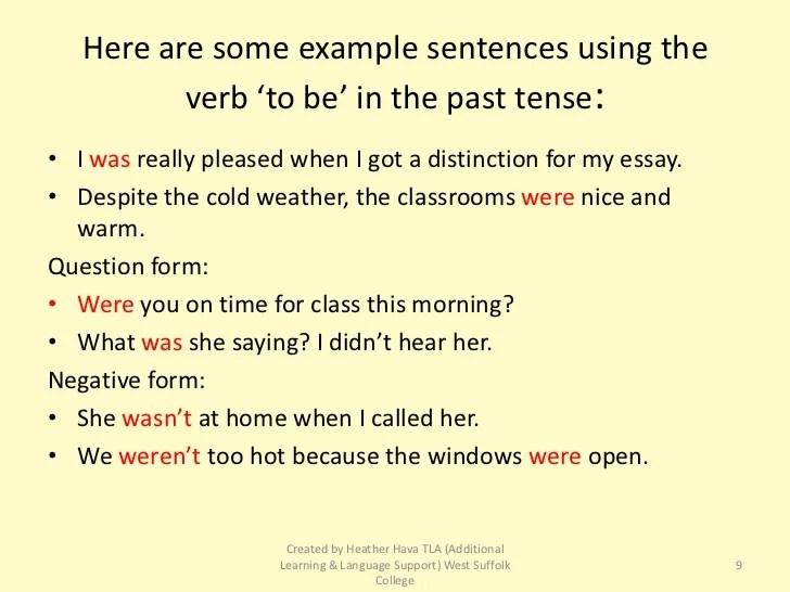 Sentences Simple Tense Past Examples