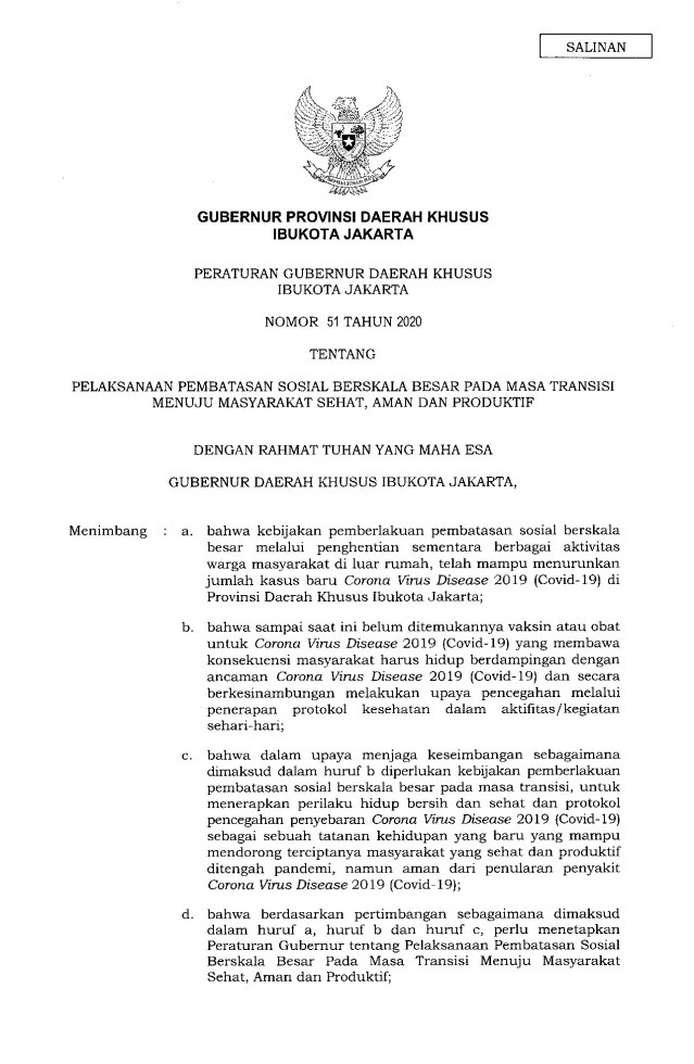 Gubernur Anies Keluarkan Pergub soal Pelaksanaan PSBB Transisi, Ini Isinya 1