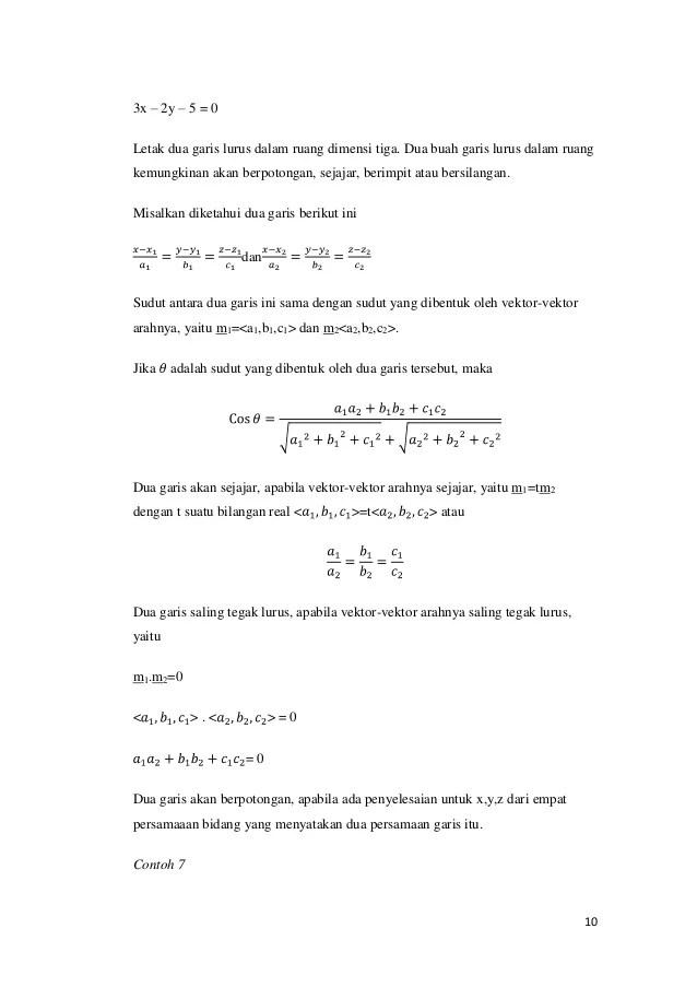 (c) jika b ∫ af(x)dx = 0 , maka f(x) = 0. Contoh Soal Persamaan Parameter - Guru Paud