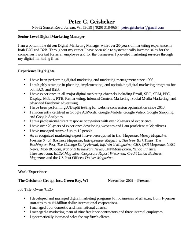 16/07/2021· this digital marketing manager resume guide will teach you: Peter Geisheker Digital Marketing Manager Resume