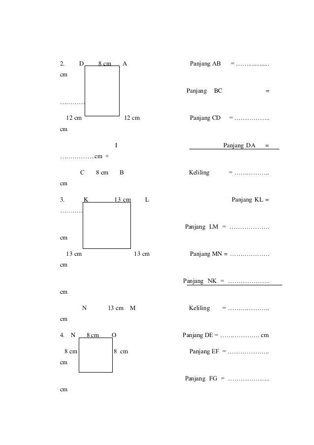 � = 9 cm, � = 12 cm b. Contoh Laporan Pkp Matematika Kelas 3 Seputar Laporan
