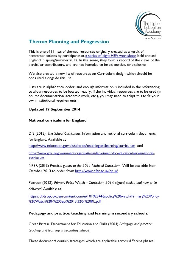 Planning and Progression Initial Teacher Education ...