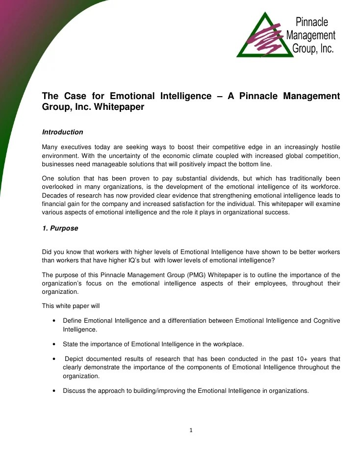 The Case for Emotional Intelligence – A Pinnacle ...
