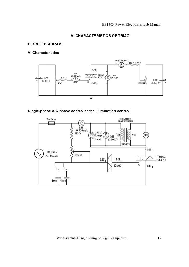 Power Electronics lab manual BE EEE