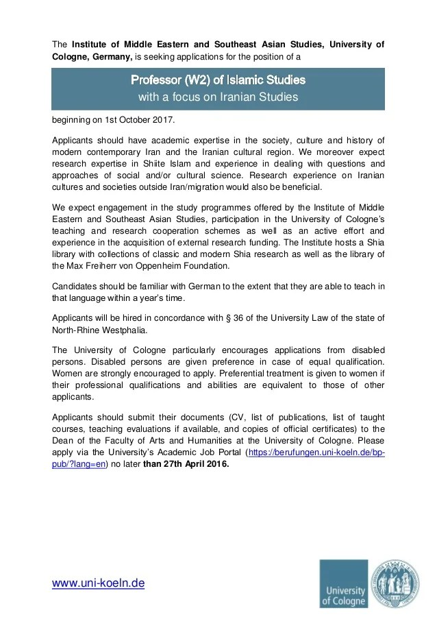 Call for applications, W-2 professorship in ...