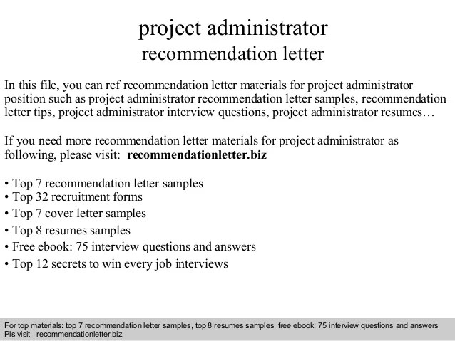 Project Administrator Recommendation Letter