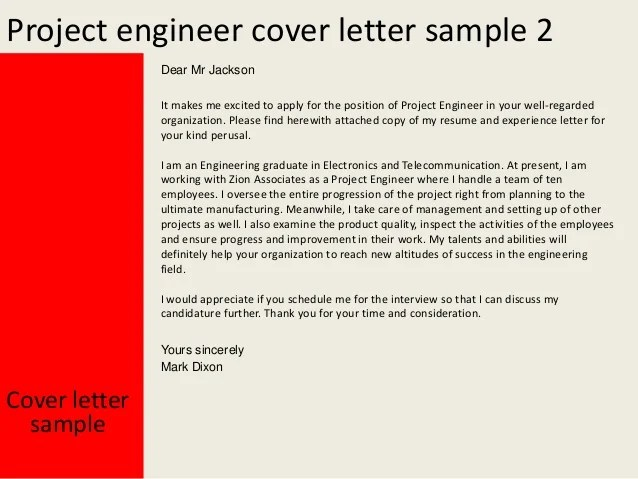 Project Engineer Cover Letter