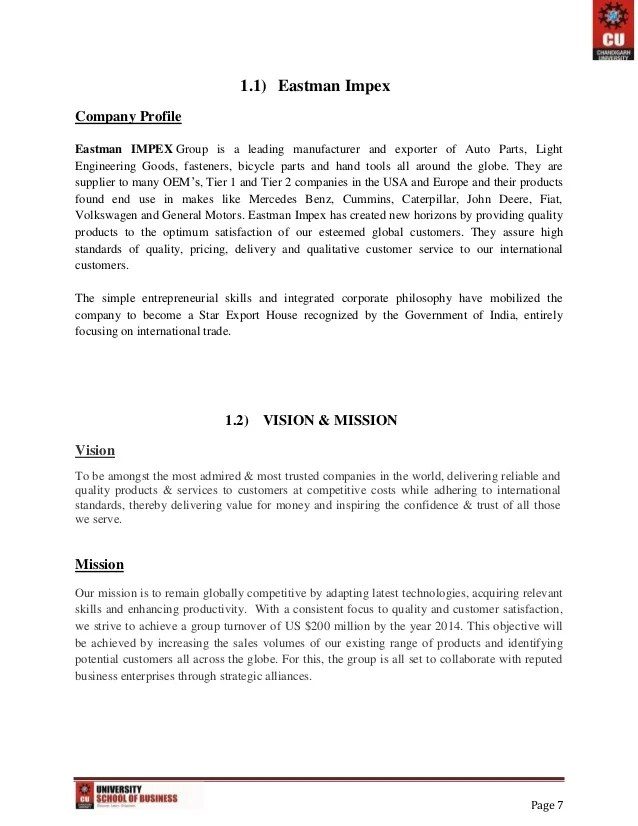 spare parts trading company profile sample
