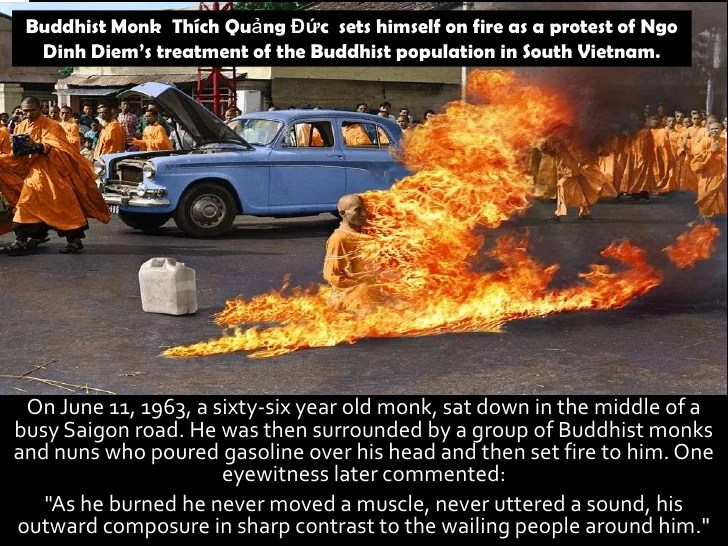 Buddhist Monk Sets Himself On Fire To Protest Against The