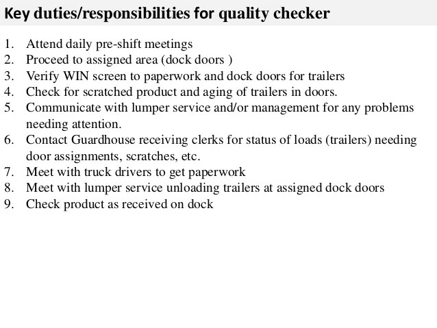Quality checker job description