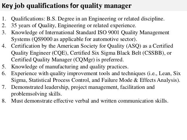 Quality manager job description