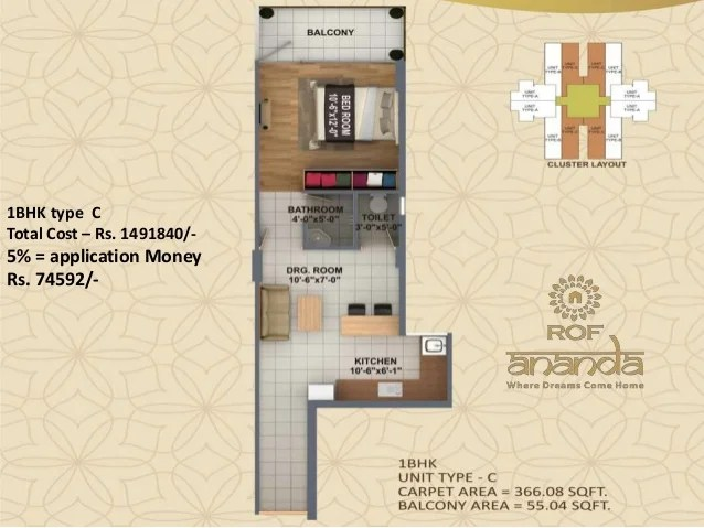 1BHK type C Total Cost – Rs. 1491840/- 5% = application Money Rs. 74592/-