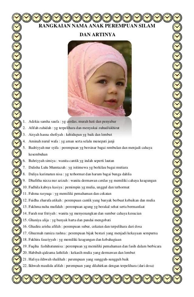 Anak Nama Dalam Islam Perempuan
