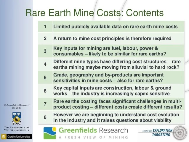 Rare Earths Mine Costs - June 2013 - Greenfields Research ...