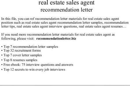 letter of recommendation for real estate agent real estate rental
