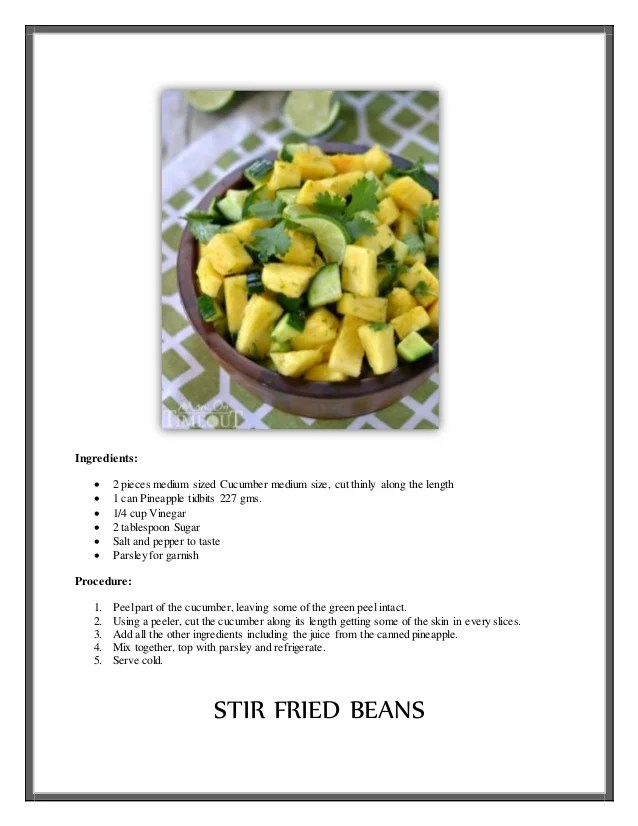 Vegetable Recipes With Ingredients And Procedure