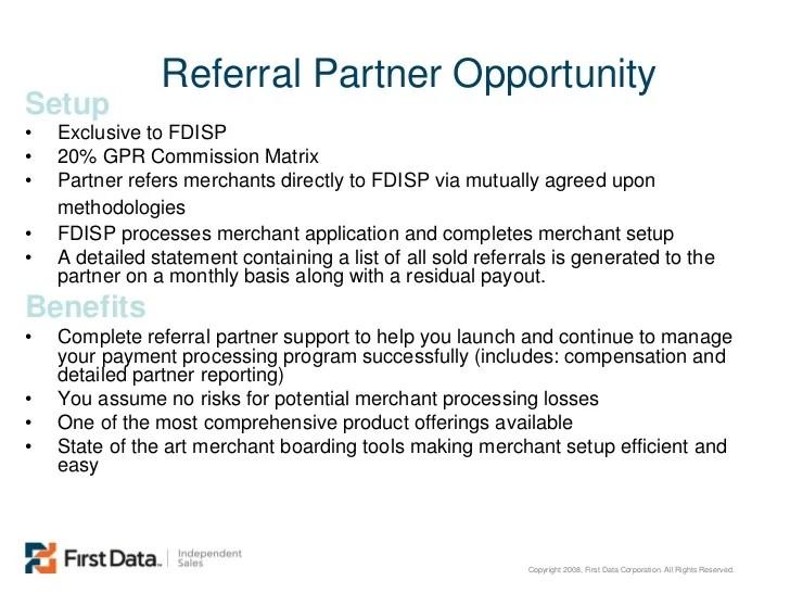 Referral Partner Program from First Data ISP