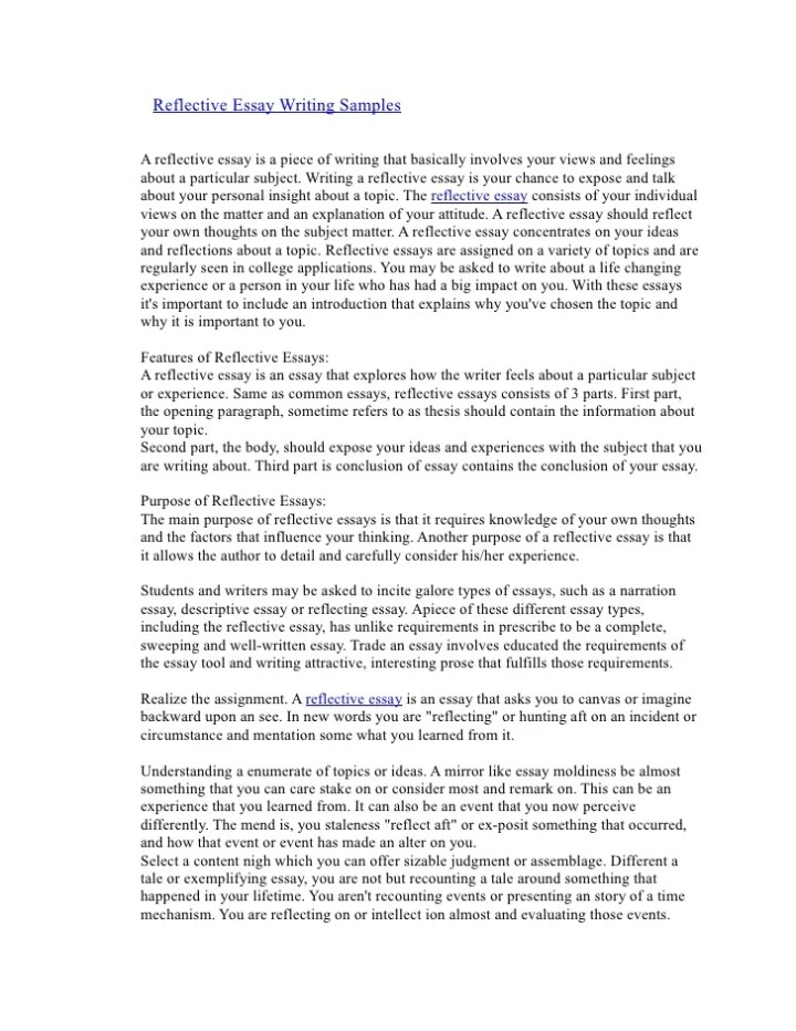example of a reflective essay on an article