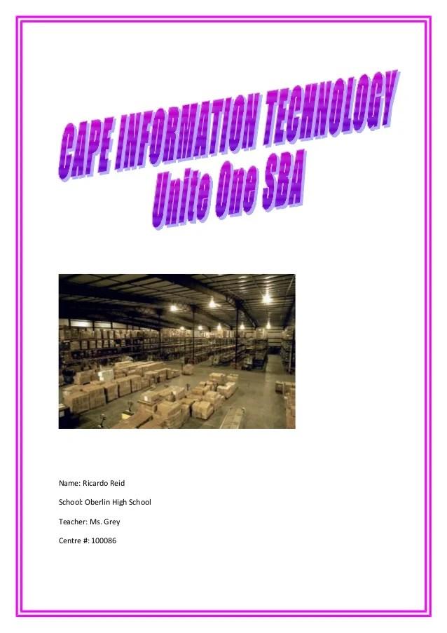 CAPE Information Technology Unite 1 SBA