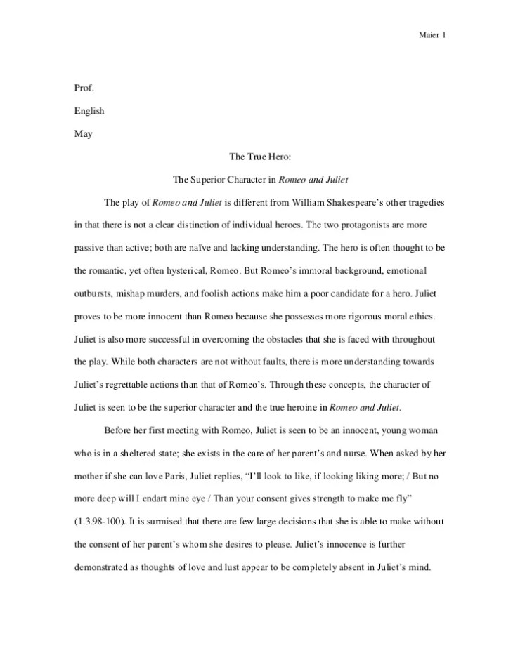Good thesis statement for romeo and juliet essay