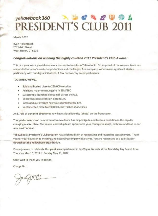 Ryan President S Club 2010 2011 2012