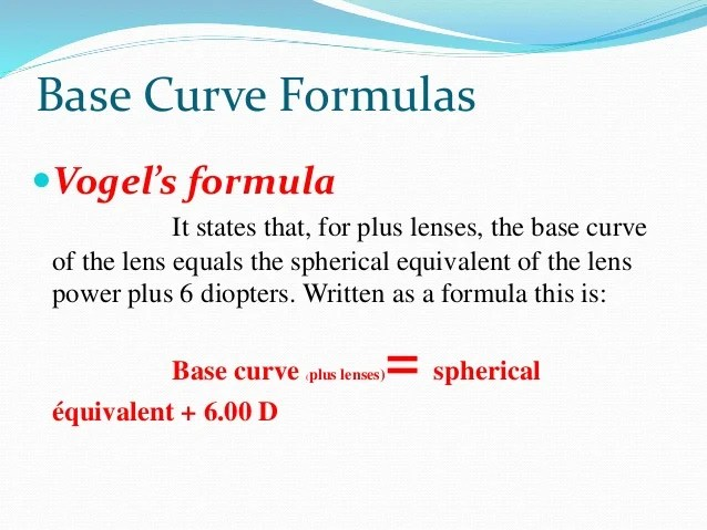 Diopter Base Curve Conversion