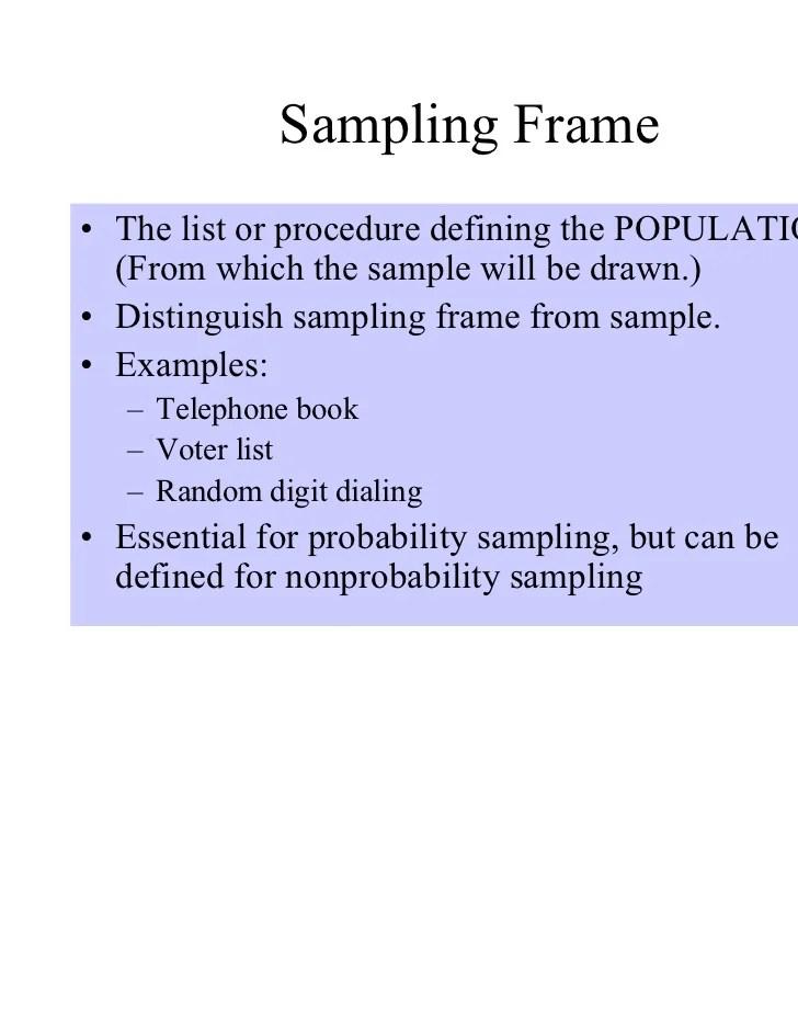 Dorable Define Sampling Frame Frieze - Custom Picture Frame Ideas ...