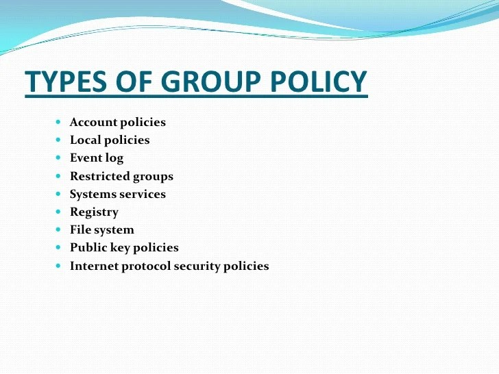 Types Security Policies