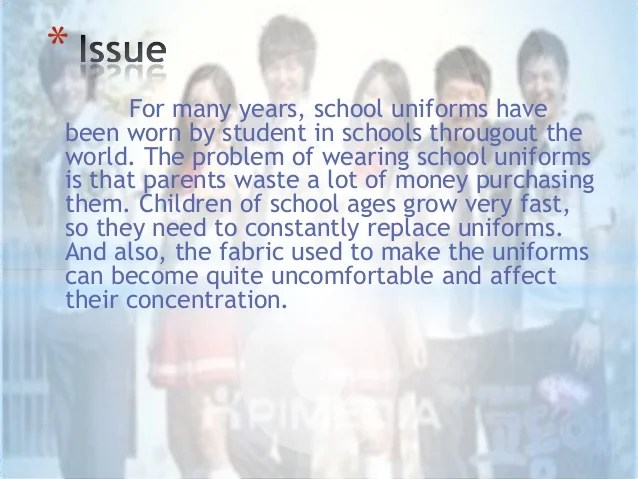 a debative essay against the motion that school uniforms should be abolished A debative essay against the motion that school uniforms should be abolished collins-patel 9pd 2114 should school uniform.