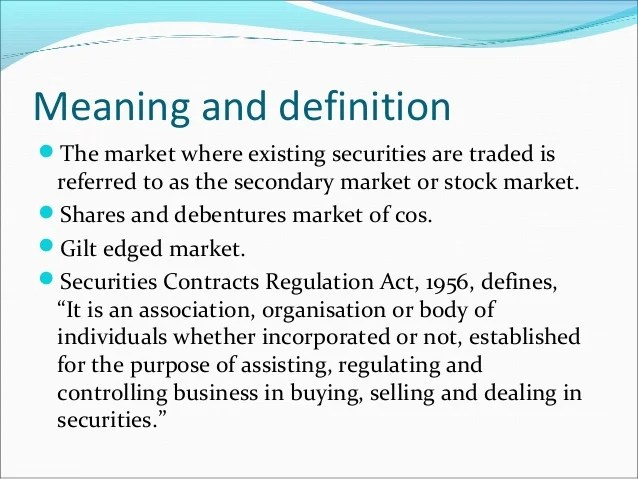 Securities Services Definition