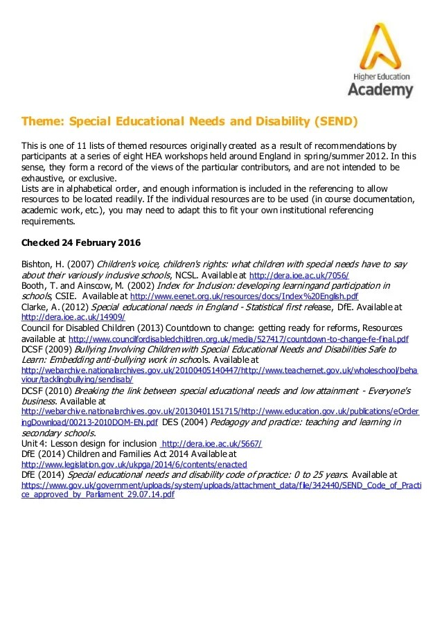 Special Educational Needs and Disability resource list