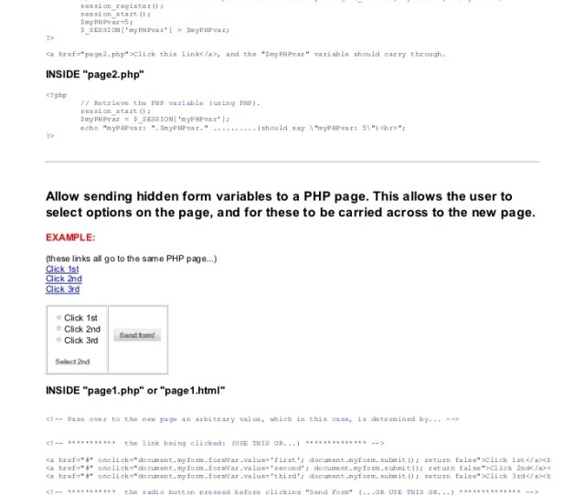 Send Pass Get Variables With Php Form Html Javascript