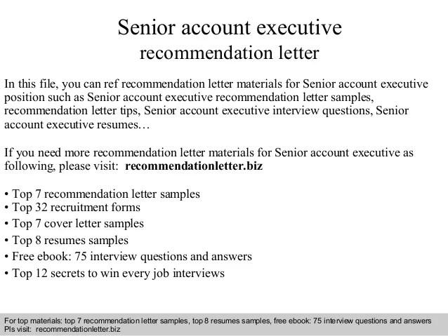 Senior Account Executive Recommendation Letter