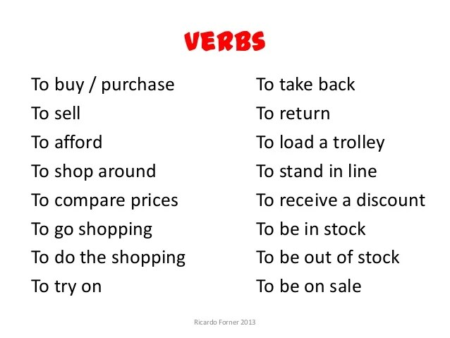 Shopping. Vocabulary.