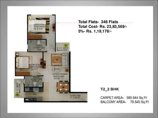 Total Flats- 02 Flats Total Cost- Rs. 2017184/- 5%- Rs. 100859/-