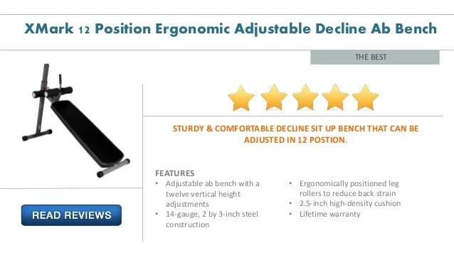 Xmark 12 Position Ergonomic Adjustable Decline Ab Bench