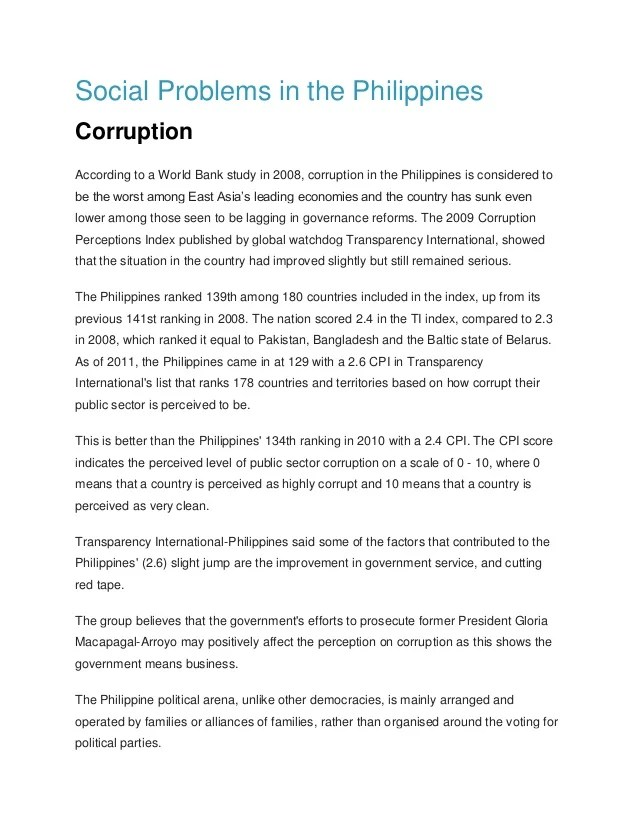 Social problems in the philippines