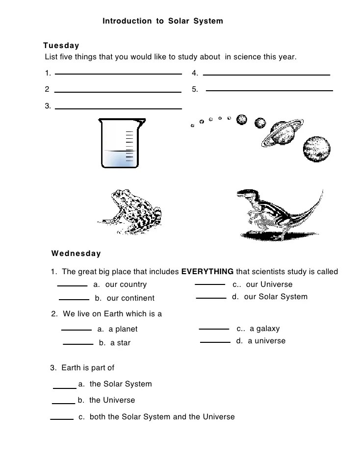 Solar: introduction solar system (worksheet 1)