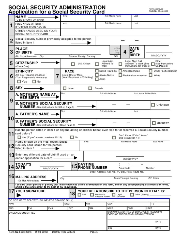 Social Security Replacement Card Form Ss 5 Poemview
