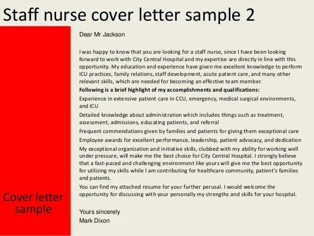 Example Cover Letter For Senior Staff Nurse