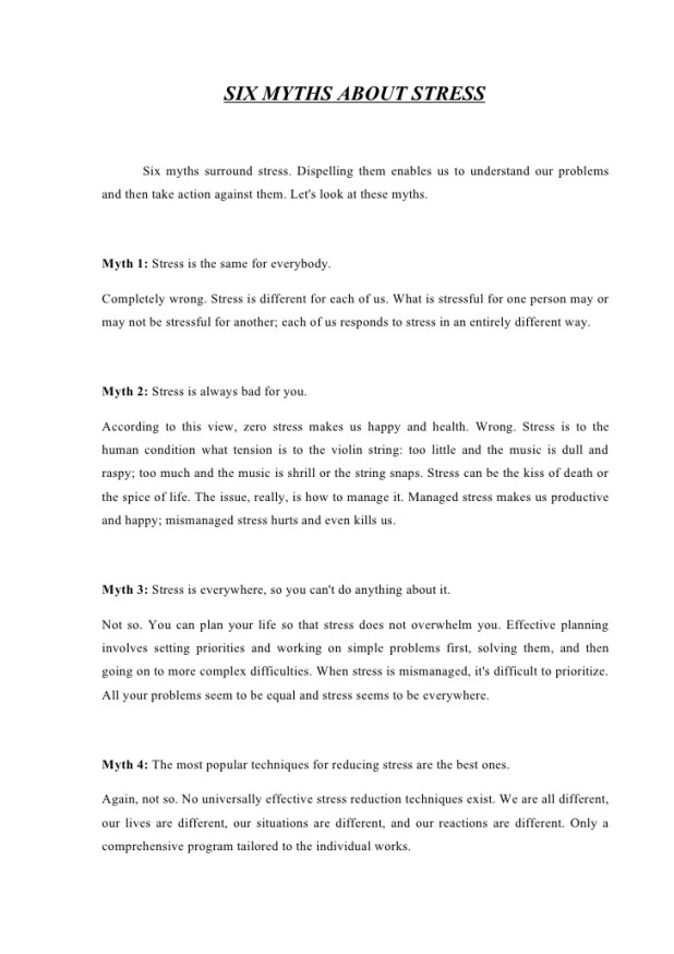 How To Reduce Your Stress Essay  Mistyhamel How To Reduce Stress Essay Creativecard Co Essay On Terrorism In English also How To Write A Thesis Statement For A Essay  Sample Essay Thesis