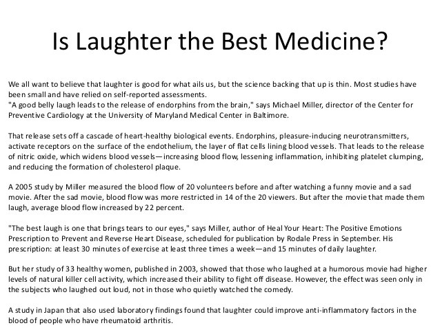 Essay Laughter Best Medicine
